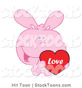 Stock Cartoon of a Pink Bunny Holding up a Heart by Hit Toon