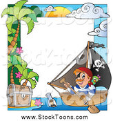 Stock Cartoon of a Pirate Ship and Treasure Border by Visekart