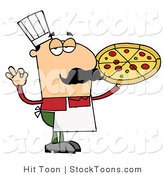 Stock Cartoon of a Pizza Guy Gesturing OK by Hit Toon
