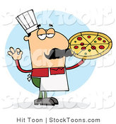 Stock Cartoon of a Pleased Caucasian Chef by Hit Toon