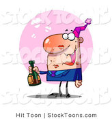 Stock Cartoon of a Pleased Guy with Lipstick Smooches by Hit Toon