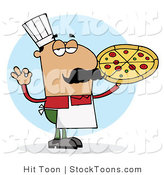 Stock Cartoon of a Pleased Hispanic Pizza Chef by Hit Toon