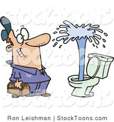 Stock Cartoon of a Plumber Viewing a Geyser in a Toilet by Ron Leishman