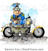 Stock Cartoon of a Policeman Filling out a a Ticket by Dennis Cox