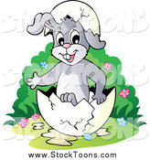 Stock Cartoon of a Presenting Easter Bunny in an Egg Shell by Visekart
