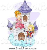 Stock Cartoon of a Prince Talking to a Princess on a Cloud Castle by BNP Design Studio