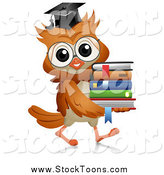 June 14th, 2015: Stock Cartoon of a Professor Owl Carrying a Stack of Books by BNP Design Studio
