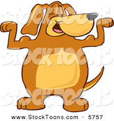 Stock Cartoon of a Proud Brown Dog Mascot Cartoon Character Flexing His Bicep Arm Muscles by Toons4Biz