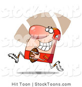 Stock Cartoon of a Proud Football Guy in Red by Hit Toon