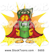 Stock Cartoon of a Proud Green Carpet Mascot Cartoon Character Dressed As a Super Hero by Toons4Biz