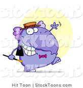 Stock Cartoon of a Purple Tap Dancing Elephant in a Hat and Bow Tie by Hit Toon