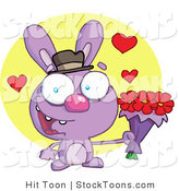 Stock Cartoon of a Purple Valentine Rabbit Holding Flowers by Hit Toon