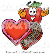 Stock Cartoon of a Red Apple Valentine Candy by Toons4Biz