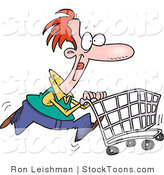 Stock Cartoon of a Red Haired Caucasian Man Pushing a Cart by Ron Leishman