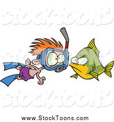 Stock Cartoon of a Red Haired White Snorkeler Boy by a Fish by Toonaday