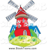 Stock Cartoon of a Red Windmill and a Blue House by Visekart