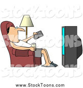 Stock Cartoon of a Relaxed White Man Slouching in a Chair with a Canned Beverage, Pointing a Remote at a Television by Dennis Cox