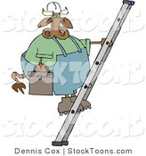 Stock Cartoon of a Repairman Cow by Djart