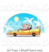 Stock Cartoon of a Rich Blond Dude Driving Convertible Yellow Car by Hit Toon