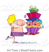 Stock Cartoon of a Rich Blond Lady in Pink, Happily Carrying a Big Stack of Boxes by Hit Toon