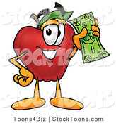 Stock Cartoon of a Rich Grinning Red Apple Character Mascot Holding a Green Dollar Bill, Paying or Saving by Toons4Biz