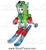 Stock Cartoon of a Rolled Money Character Skiing Downhill by Toons4Biz