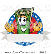 Stock Cartoon of a Rolled Smiling Green Carpet Mascot Cartoon Character with Stars and a Blank Label by Toons4Biz