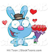 Stock Cartoon of a Romantic Blue Bunny by Hit Toon