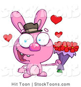 Stock Cartoon of a Romantic Pink Bunny by Hit Toon