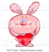 Stock Cartoon of a Romantic Pink Rabbit by Hit Toon