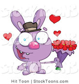 Stock Cartoon of a Romantic Purple Bunny by Hit Toon