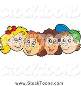 Stock Cartoon of a Row of Caucasian School Boy and School Girl Faces by Visekart