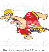Stock Cartoon of a Running Football Player Man in Uniform by Toonaday