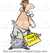 Stock Cartoon of a Sad Business Man Wearing a for Sale Sign Around His Neck by Toonaday