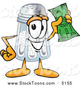 Stock Cartoon of a Salt Shaker Character Holding a Dollar Bill by Toons4Biz