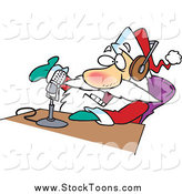 Stock Cartoon of a Santa Claus Talking on the Radio by Ron Leishman