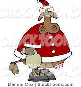 Stock Cartoon of a Santa Cow by Djart