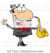 Stock Cartoon of a Saxophone Player by Hit Toon