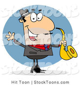 Stock Cartoon of a Saxophonist by Hit Toon