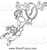 Stock Cartoon of a Scared Man Flying Away with a Clock by Toonaday