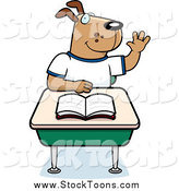 Stock Cartoon of a School Dog Raising His Hand at a Desk by Cory Thoman