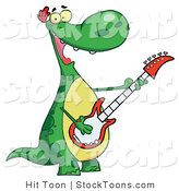 Stock Cartoon of a Singing Dinosaur by Hit Toon
