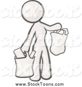 Stock Cartoon of a Sketched Woman Carrying Paper Grocery Bags by Leo Blanchette