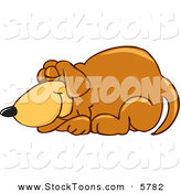 Stock Cartoon of a Sleepy Brown Dog Mascot Cartoon Character Curled up and Sleeping by Toons4Biz