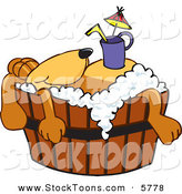 Stock Cartoon of a Sleepy Brown Dog Mascot Cartoon Character with a Drink on His Belly, Taking a Bath by Toons4Biz