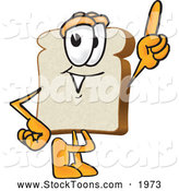 Stock Cartoon of a Slice of Bread Mascot Pointing Upwards by Toons4Biz