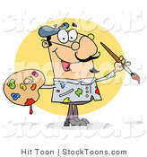 Stock Cartoon of a Sloppy Caucasian Painter by Hit Toon