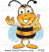 Stock Cartoon of a Smart Bee Mascot Cartoon Character Holding a Pencil by Toons4Biz