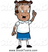 Stock Cartoon of a Smart Black School Girl Holding up a Finger by Cory Thoman