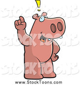 Stock Cartoon of a Smart Hippo Exclaiming by Cory Thoman